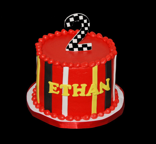 2nd birthday race car themed cupcake tower topper cake