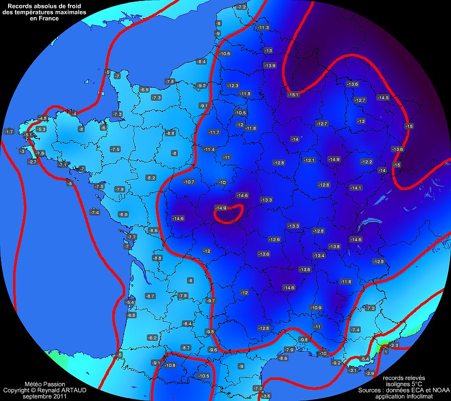 records absolus de froid des temp�ratures maximales en France Reynald ARTAUD m�t�opassion