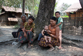 Family portrait, Traditional village in the Chin State, Myanmar