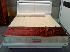 floor, bed frame, furniture, wood, room, box-spring, bed sheet, bed, mattress,