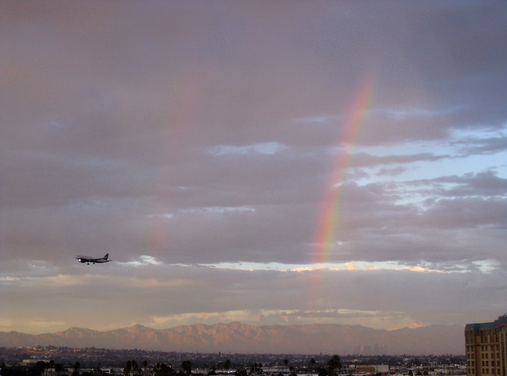 Sunset Double Rainbow and Airplane Over LA