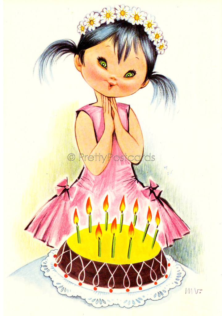 Happy Birthday Card Vintage Postcard Big Eyed Girl Blowing The Candles On Her Cake