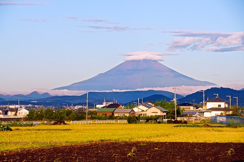 mountain japan sunrise volcano rice suburbia mountfuji fields fujisan farms kanagawa hiratsuka ©jameskemlo ©junpeihayakawa