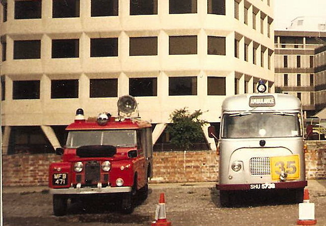 ex bath landrover and gmc bristol ambulance at Bristol fire museum rally 1990s