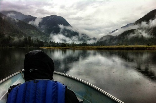 canada mountains wet rain boat