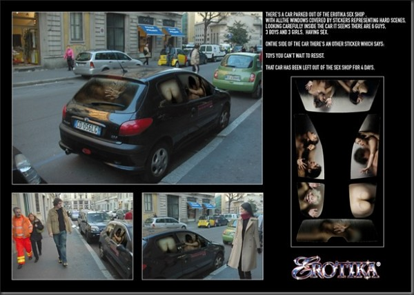 Erotika Sex Shop Guerrilla Marketing - Naked People in Car Windows