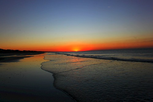 sky sun color colour reflection beach water clouds sunrise canon dawn nc north carolina rise holden 500d t1i
