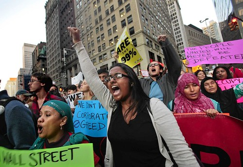 Thousands joined in the Wall Street protest, as they marched down Broadway on Wednesday afternoon. The size of the protest continues to grow.  (Carolyn Cole/Los Angeles Times) by Pan-African News Wire File Photos
