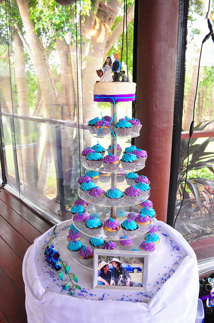 Purple and turquoise wedding cupcakes double choc mud and raspberry