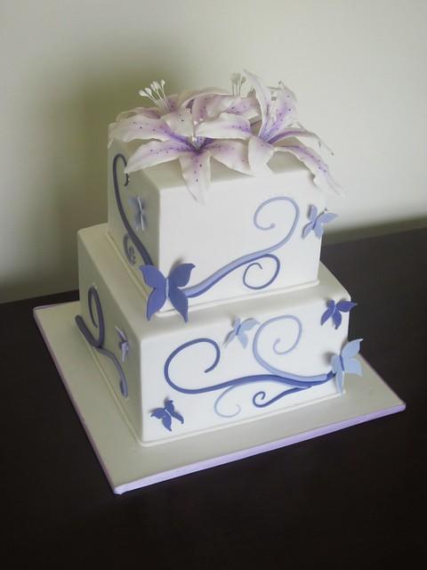 Butterfly Swirl Wedding Cake