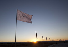 The sun sets behind Spaceport America on the eve of the big day. Photo by Mark Greenberg