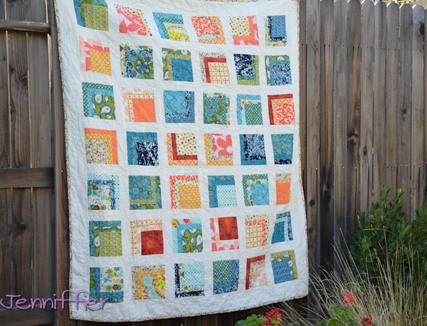 Orange and Blue Quilt Finished