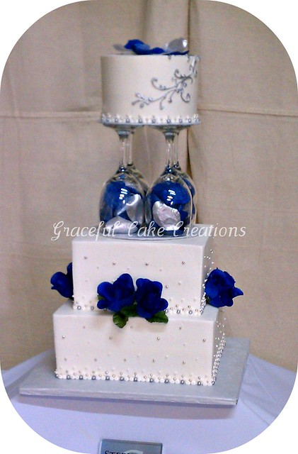 White Navy Blue and Silver Wedding Cake