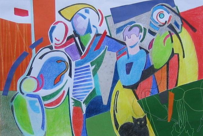 Human Figure Modern Art Composition