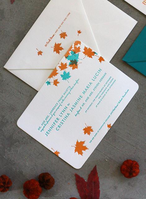 Teal And Orange Maple Letterpress Wedding Invitations
