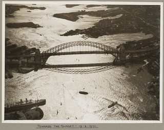 Sydney Harbour Bridge at sunset, 19 March 1932