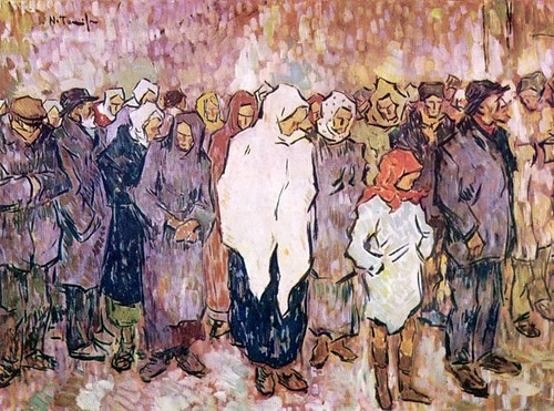Tonitza, Nicolae (1886-1940) - 1920 Queueing For Bread