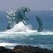 Godzilla making waves!   :) by WoGzilla by WoGzilla ☢ ゴジラ