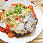 Teochew Steamed Fish (Pomfret)