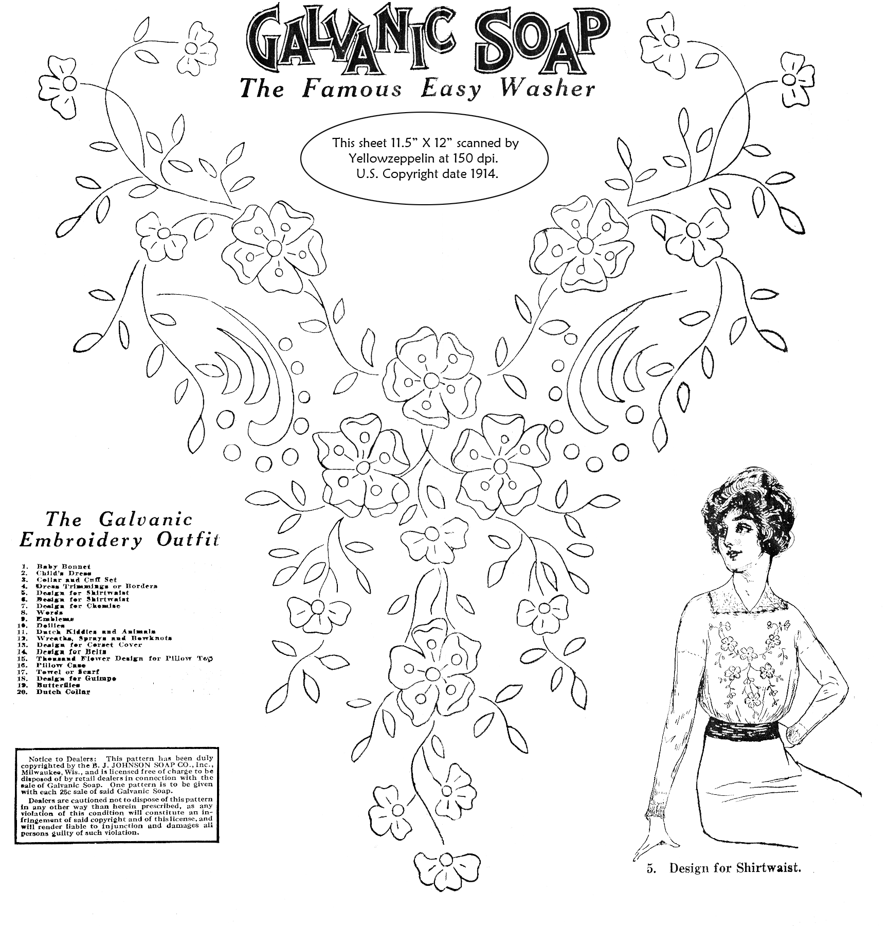 Galvanic Soap embroidery transfer for shirtwaist