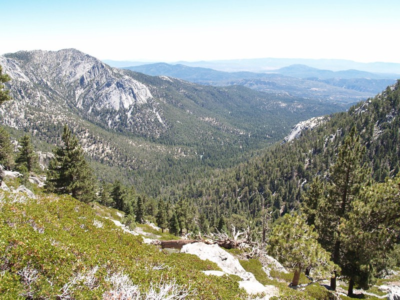 View of Tahquitz Peak and Suicide Rock, with Idyllwild between them
