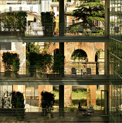 trees light italy rome reflection glass lines silhouette architecture hotel chairs geometry radisson layers radissonbluerome peopleingeometryman