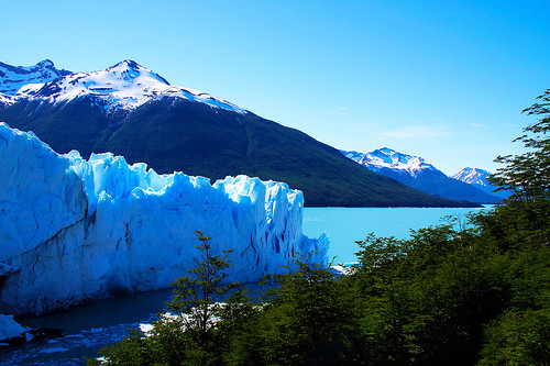 lake ice nature argentina glacier hills