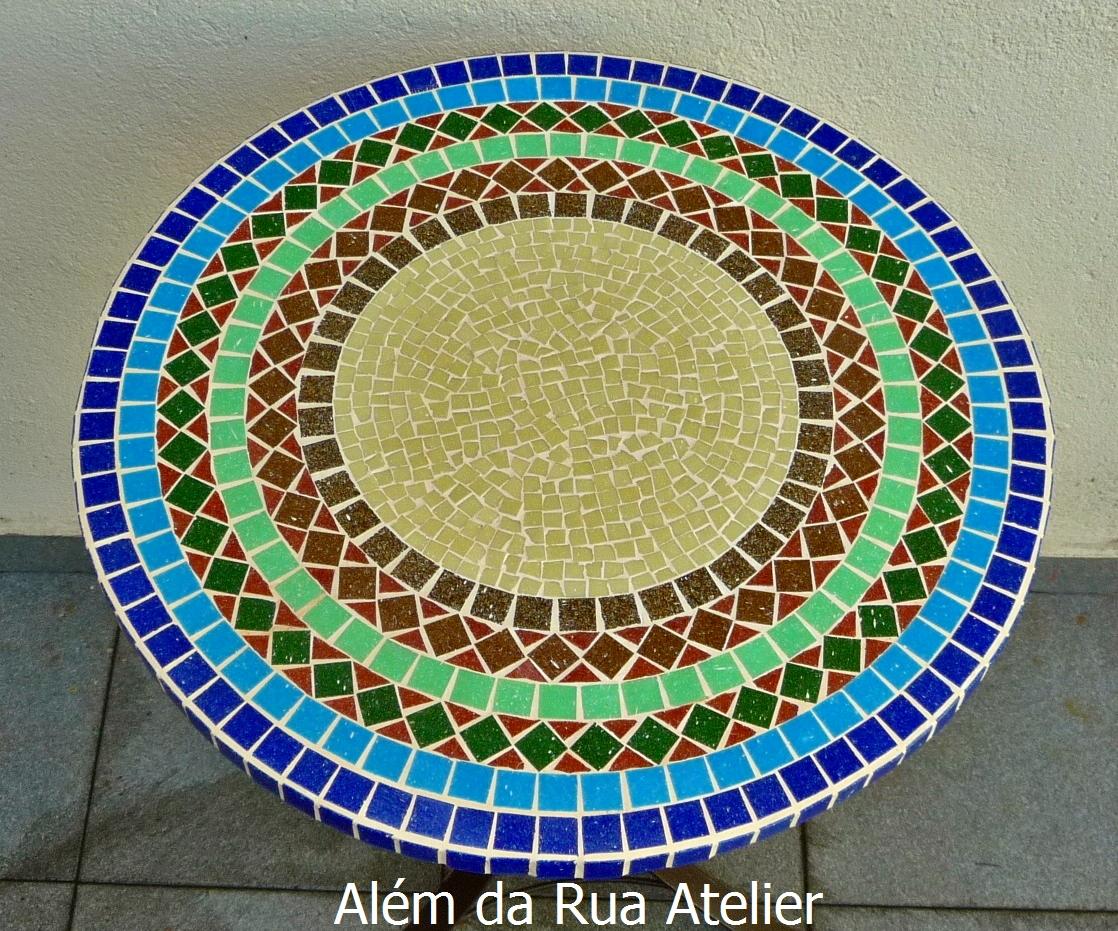 Tampo de mesa em mosaico med 50 cm de di metro for Mesas de mosaico