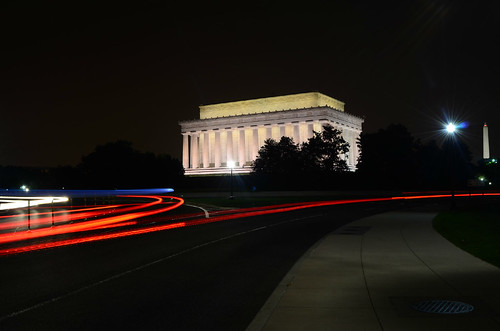Speeding by the Lincoln Memorial at night [EXPLORE]
