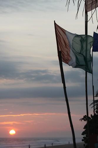ocean africa sunset west flag atlantic côtedivoire