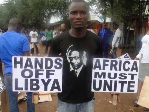 Ghanaians demonstrate against the US-NATO invasion and occupation of the North African state of Libya. These demonstrations coincide with the 102nd anniversary of the birth of Kwame Nkrumah. by Pan-African News Wire File Photos