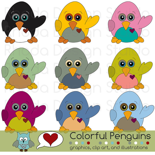 colorful penguins flickr photo