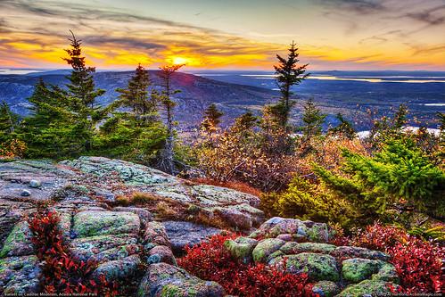 autumn sunset mountains fall nature landscape nationalpark twilight horizon maine newengland autumncolors acadianationalpark fallseason