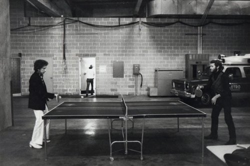 Dylan and Levon Helm play ping-pong