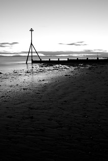 Selsey Sunset - B&W Version