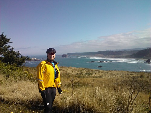 Me at the Cape Blanco lighthouse, Cape Blanco State Park, Cycle Oregon 2011 Day 4.