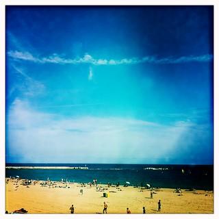 Image of Platja de la Nova Icària near GTD. barcelona blue sea seaside spain catalonia september promenade spanje portolimpic 2011 novaicaria iphone4 iphoneography hipstamatic