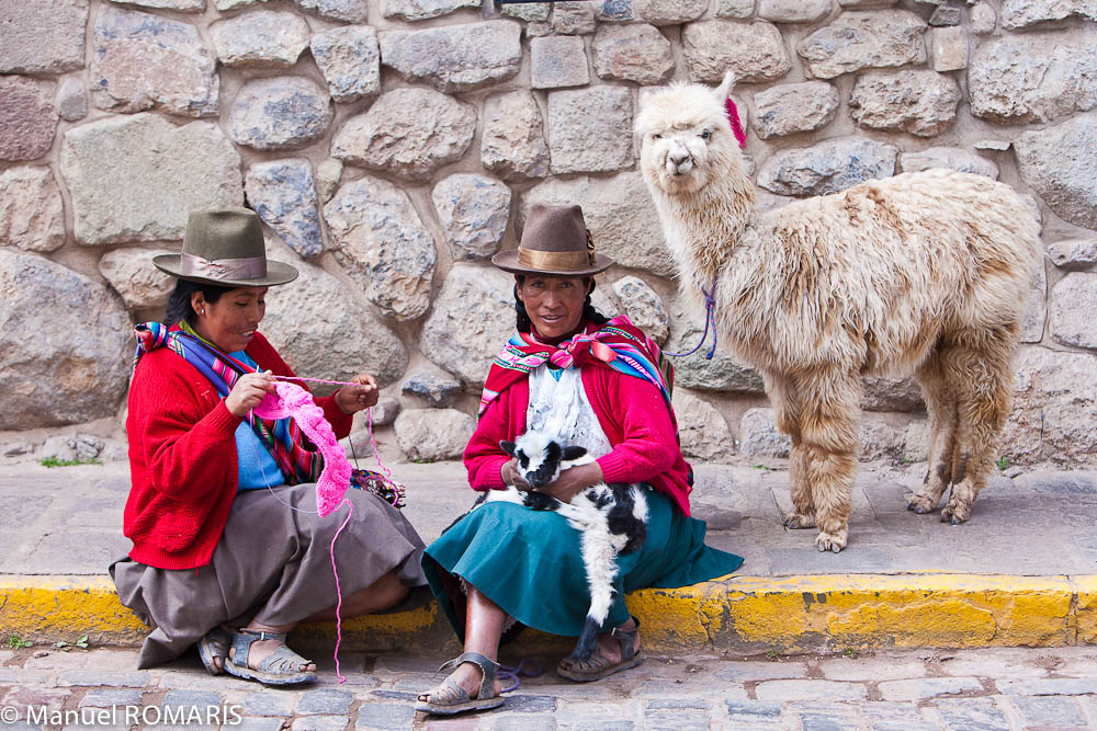 Cuzco, Peru, two women sitting on curb, alpacas