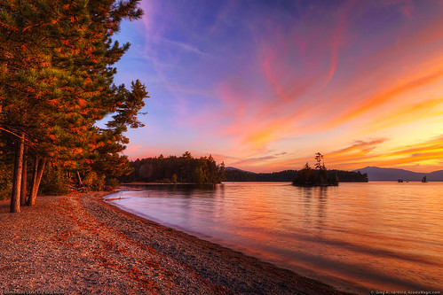 trees sunset lake mountains reflection nature pine landscape maine redsky mooseheadlake greenvillemaine lilybay lilybaymaine piscataquiscounty lilybaystatepark