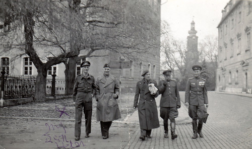 British, American and Soviet army officers. Platz Der Demokratie, Weimar, Germany.