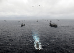U.S. Navy and Japan Maritime Self-Defense Force ships transit the Pacific Ocean in formation during ANNUALEX, Nov. 17, 2009. (U.S. Navy photo)