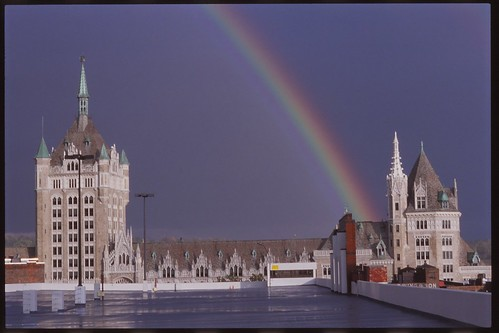 Rainbow along former D&H Building, Albany, N.Y.