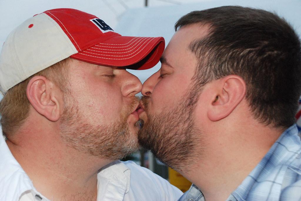 Gay bear kissing