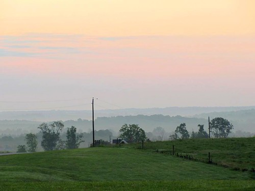 county morning light sky sun mist color nature field fog rural landscape virginia early charlotte farm pastel country peaceful utility pole hills layers agriculture charlottecourthouse