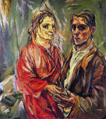 Self Portrait with Alma Mahler, 1912-13, by Kokoschka