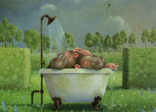 """""""Nilpferde Im Sommer"""" by Suzan Visser"""