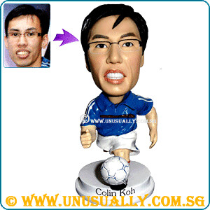 Custom 3D Male In Blue Jersey Figurine - @www.unusually.com.sg