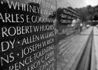 Vietnam Memorial Wall b&w