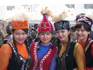 Group of Kazakh girls in national costume at the Eurasia Film Festival