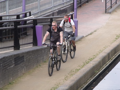 Bournville Station and the Worcester and Birmingham Canal - ramp for the canal - cyclists